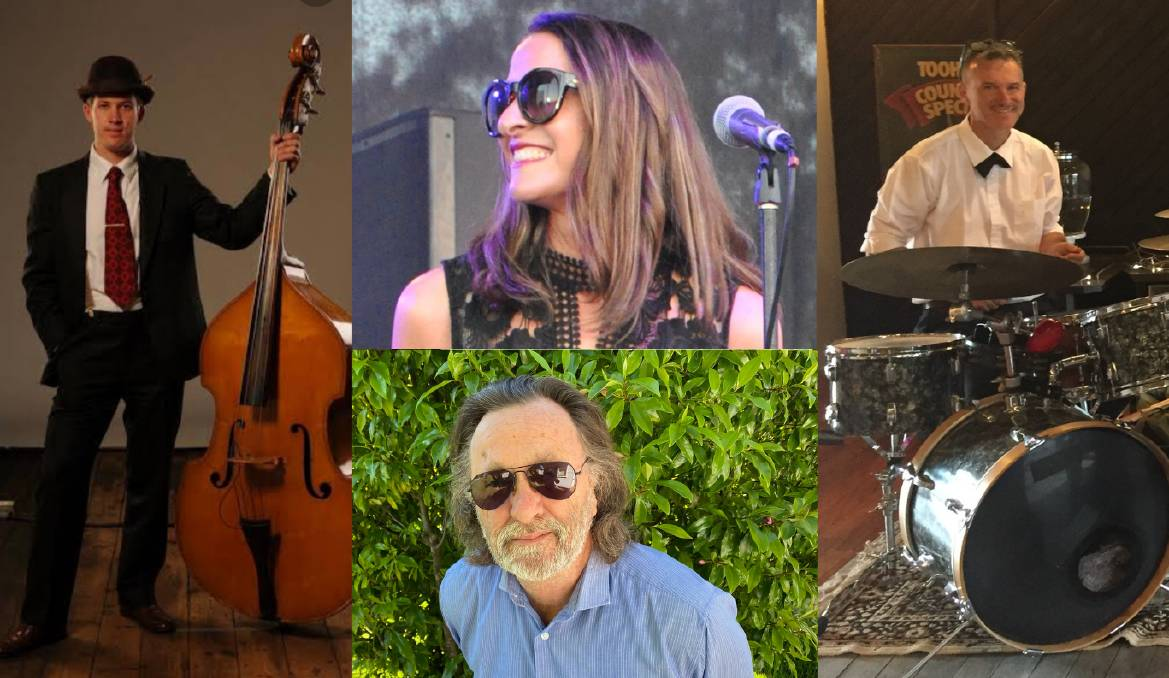 COMBINING THEIR TALENTS: Enjoy local jazz with Sam Martin on double bass, Colleen Spillane on vocals, Paul Dion on keyboard and David Ross Macdonald on drums. Pictures: Supplied