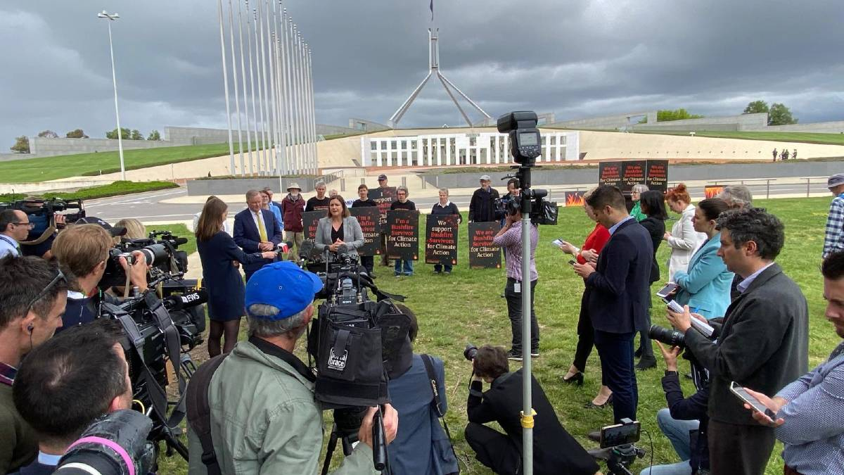 Member for Eden-Monaro Kristy McBain joins Bushfire Survivors for Climate Action campaigners outside Parliament House on Wednesday, October 27. Photo: Supplied