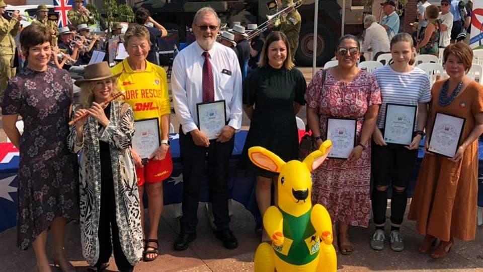 Bega Valley 2020 Citizen of the Year Award winners pictured in January with acting general manager Alice Howe, Australia Day Ambassador Jane Rutter and Mayor Kristy McBain are Michele Bootes, Colin Dunn, Clair Mudalier, Kiarna Woolley-Blain and Jennie Keioskie (absent: Kate Lewis).