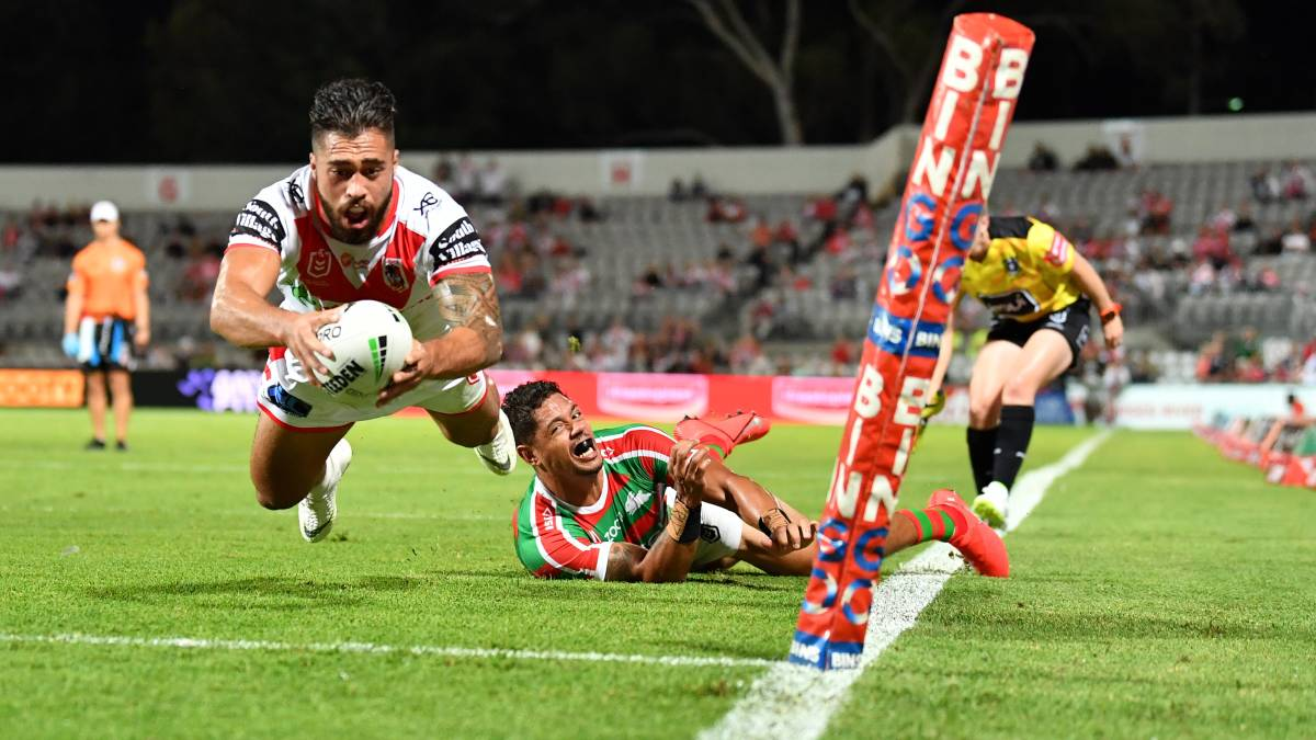 IN FOCUS: Dragons winger Jordan Pereira dives over to score a try against the Rabbitohs at Jubilee Stadium last year. Picture: Grant Trouville/NRL Imagery