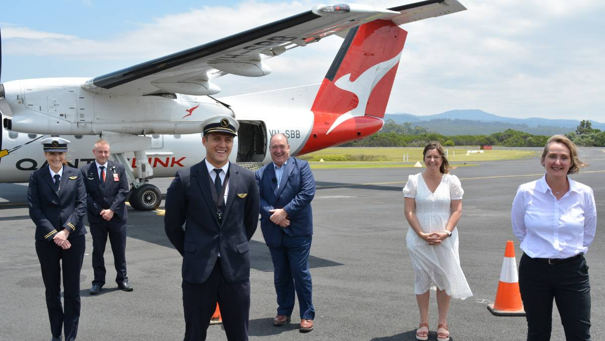 The first Qantas flight into Merimbula from Sydney in December 2020 is being followed by flights from Melbourne.