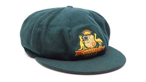 One of two Donald Bradman-worn baggy greens that will go to auction on Sunday.