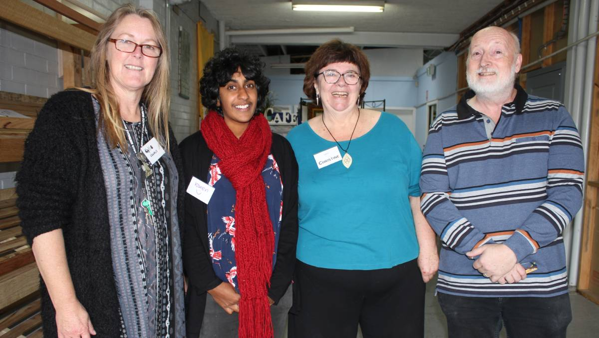 HOW TO ADULT: South East Women and Children's Services' Kylie Furnell with Wellways Karen Wright and Sapphire Community Pantry's Christine Welsh and Peter Buggy in Bega on Wednesday. Picture: Alasdair McDonald