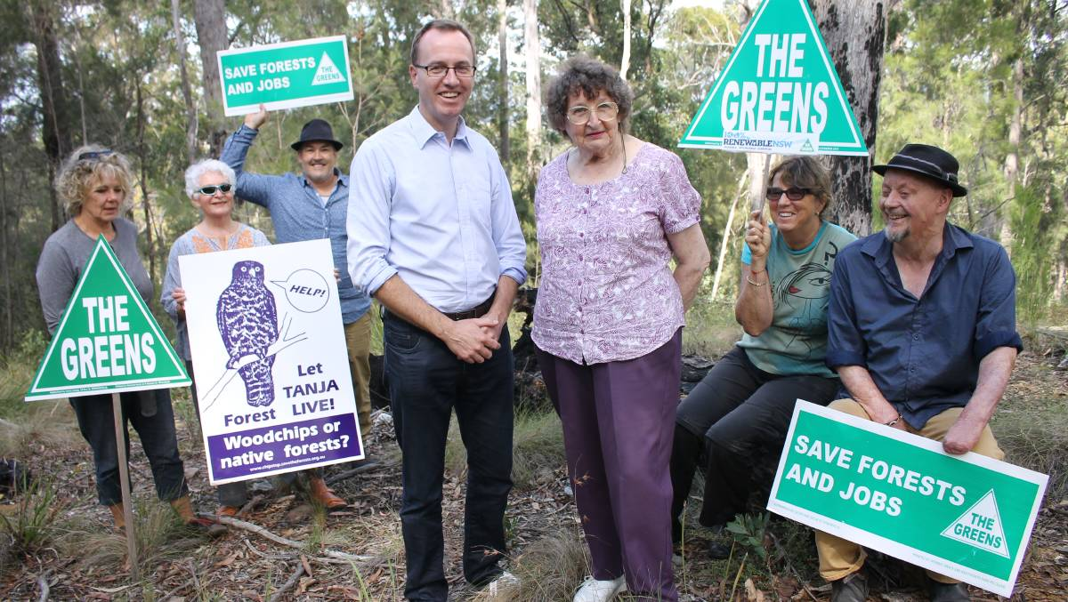 Enjoying a visit to Tanja State Forest while busy on the campaign trail, NSW Greens Member of Parliament and forestry spokesperson David Shoebridge talks policy with the party's candidate for Bega Margaret Perger, supported by (back, from left) Harriett Swift, Heather Kenway, Cr Keith Hughes, Sylvie Mester and Jamie Shaw.