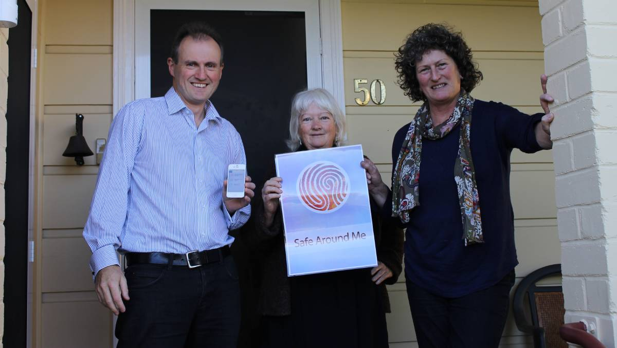 Liam O'Duibhir of 2pi Software with Caroline Long and Cheryl Nelson of South East Women and Children's Services celebrate the successful release of mobile app Safe Around Me.