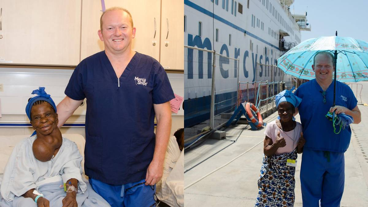 LEFT: Aboard a Mercy Ship floating hospital, Bega surgeon AJ Collins stands next to one of his thyroid patients. RIGHT: Happy faces all round after a successful operation.